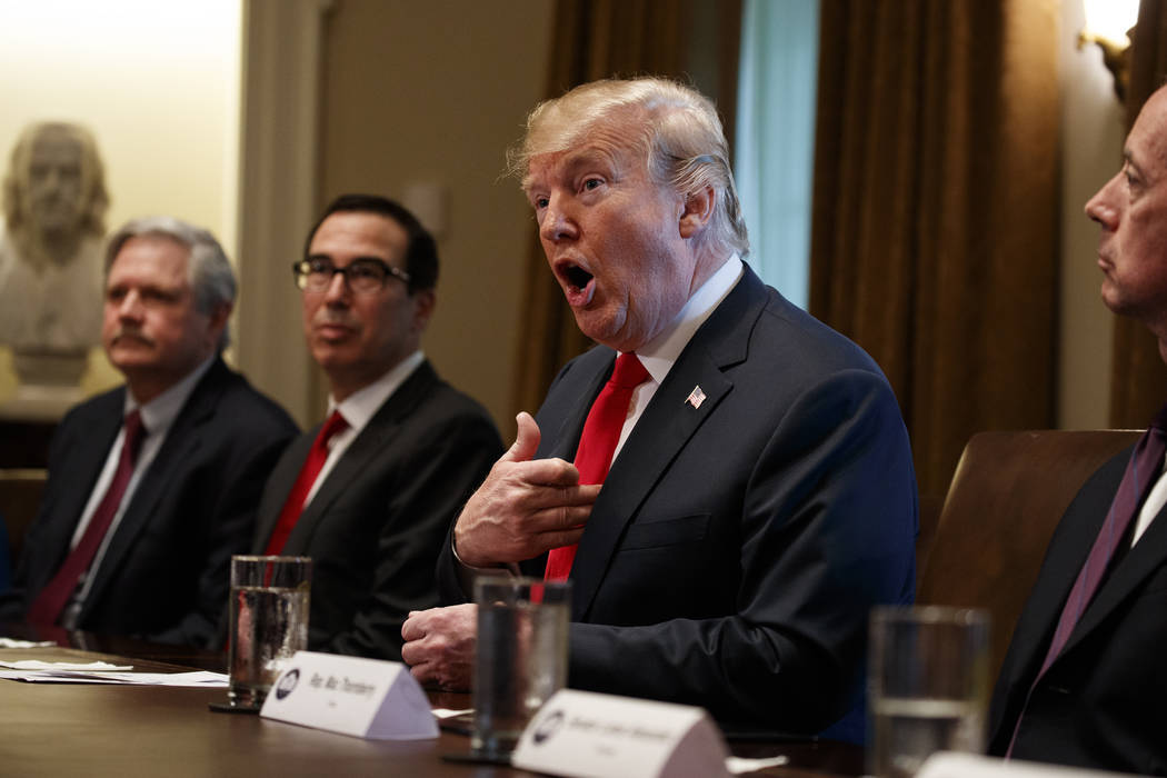 President Donald Trump speaks during a meeting with Republican members of Congress on immigration in the Cabinet Room of the White House, Wednesday, June 20, 2018, in Washington. (Evan Vucci/AP)