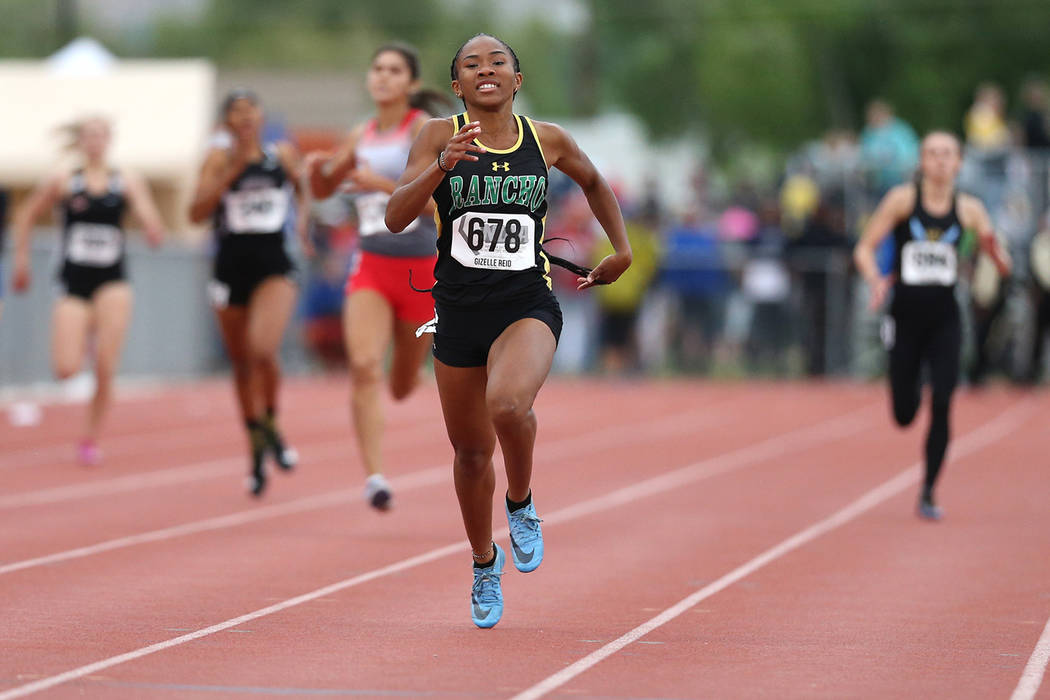 Rancho's Gizelle Reid wins the 4A 400 at the NIAA Track & Field Championships at Carson High in Carson City, Nev., on Friday, May 18, 2018. Cathleen Allison/Las Vegas Review-Journal