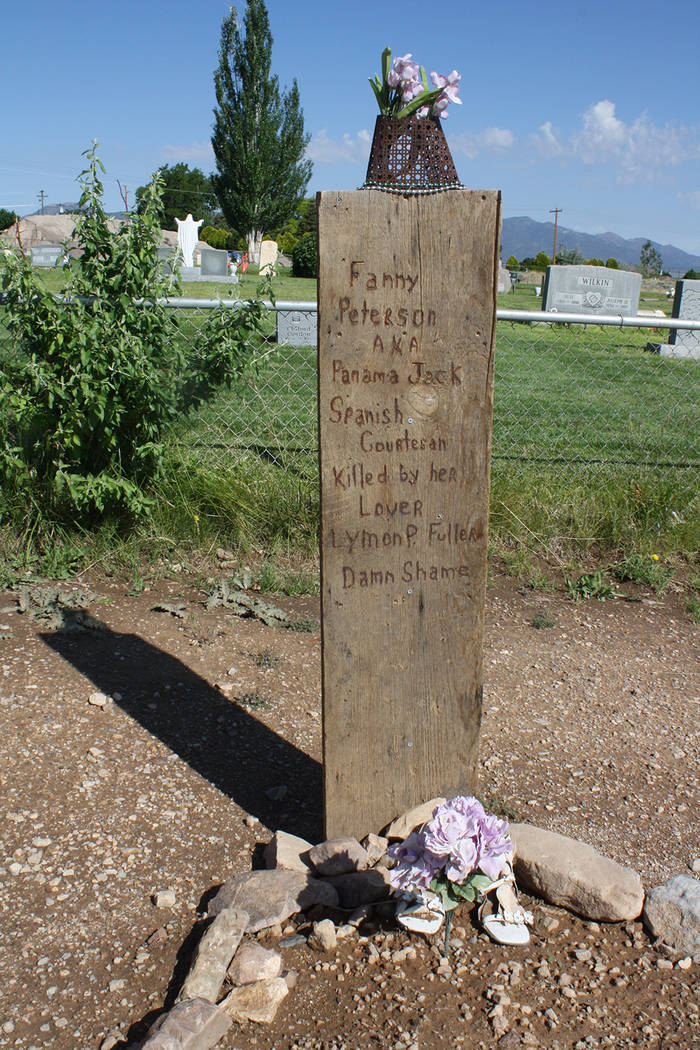 """A headstone in """"Boot Hill"""" reads """"Fanny Peterson AKA Panama Jack, Spanish courtesan killed by her lover Lyman P. Fuller, Damn Shame."""" (Deborah Wall)"""