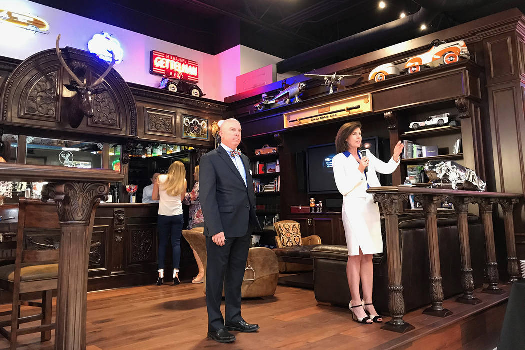Grant a Gift Autism Foundation CEO Terri Janison, right, speaks alongside UNLV School of Medicine Vice Dean for Clinical Affairs and UNLV Medicine CEO and President Dr. Michael Gardner, left, at a ...