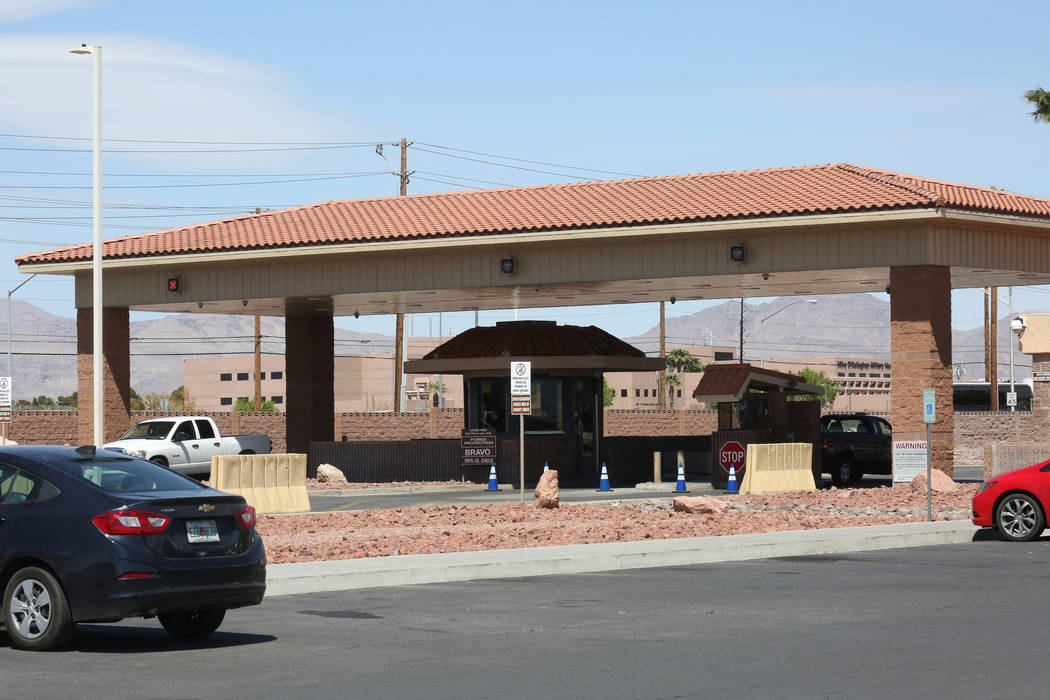 The main entrance checkpoint at Nellis Air Force Base in Las Vegas on Wednesday, April 4, 2018. Bizuayehu Tesfaye/Las Vegas Review-Journal @bizutesfaye