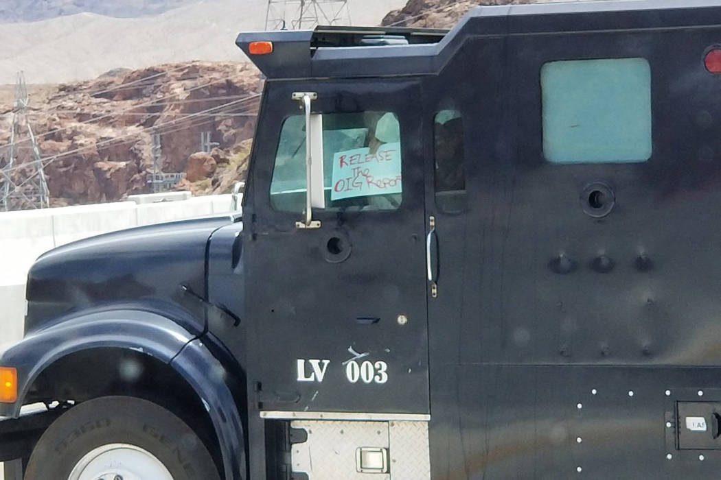 A man in a vehicle reportedly with a gun is on the Mike O'Callaghan-Pat Tillman Memorial Bridge near Hoover Dam south of Las Vegas on Friday, June 15, 2018. (@MarkAMills1/Twitter)