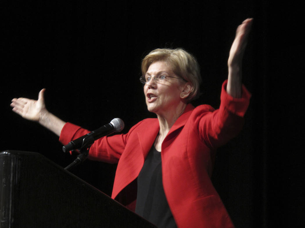 Sen. Elizabeth Warren, D-Mass., delivers the keynote address Saturday, June 23, 2018, to the Nevada Democratic Convention in Reno, Nev. Warren said Nevada will play a pivotal role in the November ...