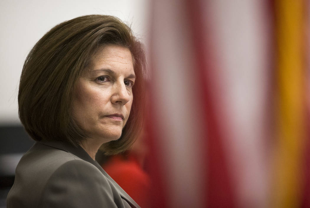 Sen. Catherine Cortez Masto, D-Nev., and students from various schools take part in a roundtable discussion on the impact of gun violence the at Las Vegas Academy of the Arts in downtown Las Vegas ...