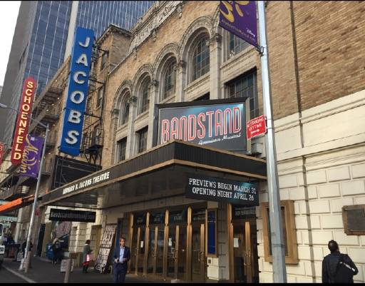 "Signage for the new, Las Vegas-conceived musical ""Bandstand"" is shown at the Bernard B. Jacobs Theatre in New York City. (Richard Oberacker)"
