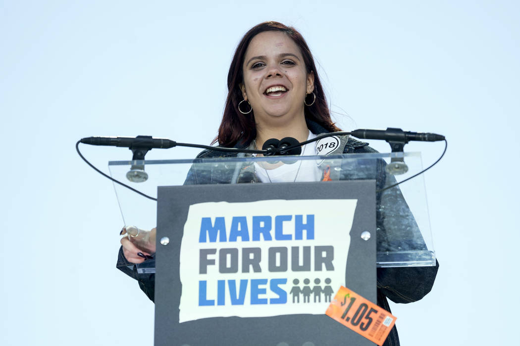 "FILE - In this March 24, 2018, file photo, Samantha Fuentes, a survivor of the mass shooting at Marjory Stoneman Douglas High School in Parkland, Fla., speaks during the ""March for Our Lives& ..."