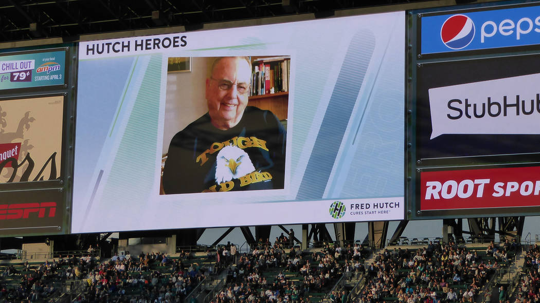 "The Seattle Mariners featured several photos of cancer survivor Jim Morrison on June 14 at Safeco Field in Seattle, including this ""Tough Old Bird"" picture. Jane Ann Morrison/Las Vegas ..."