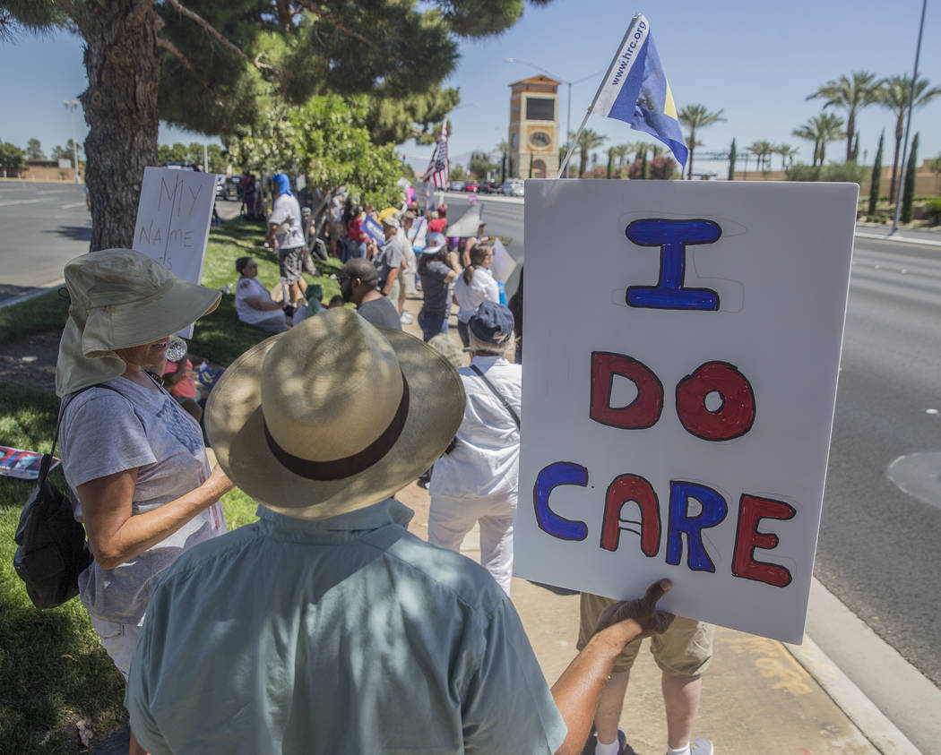 Protesters outside Suncoast hotel-casino ahead of President Donald Trump's appearance on Saturday, June 23, 2018, in Las Vegas. Benjamin Hager Las Vegas Review-Journal @benjaminhphoto