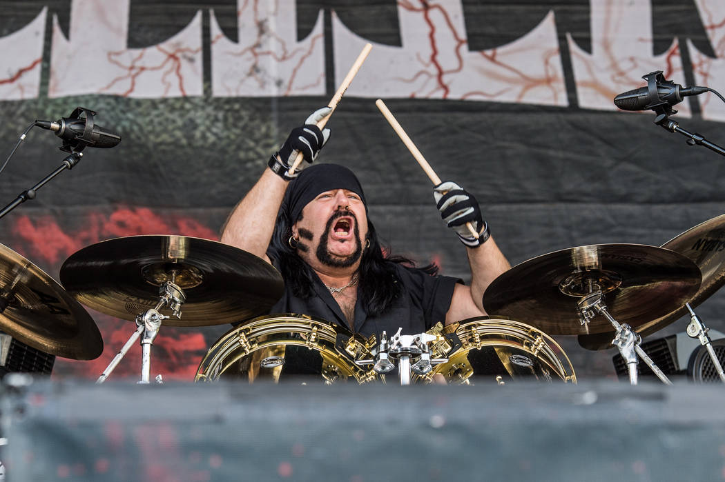 Vinnie Paul of HELLYEAH performs at the Louder Than Life Festival on Saturday, Oct. 1, 2016, in Louisville, Ky. (Photo by Amy Harris/Invision/AP)