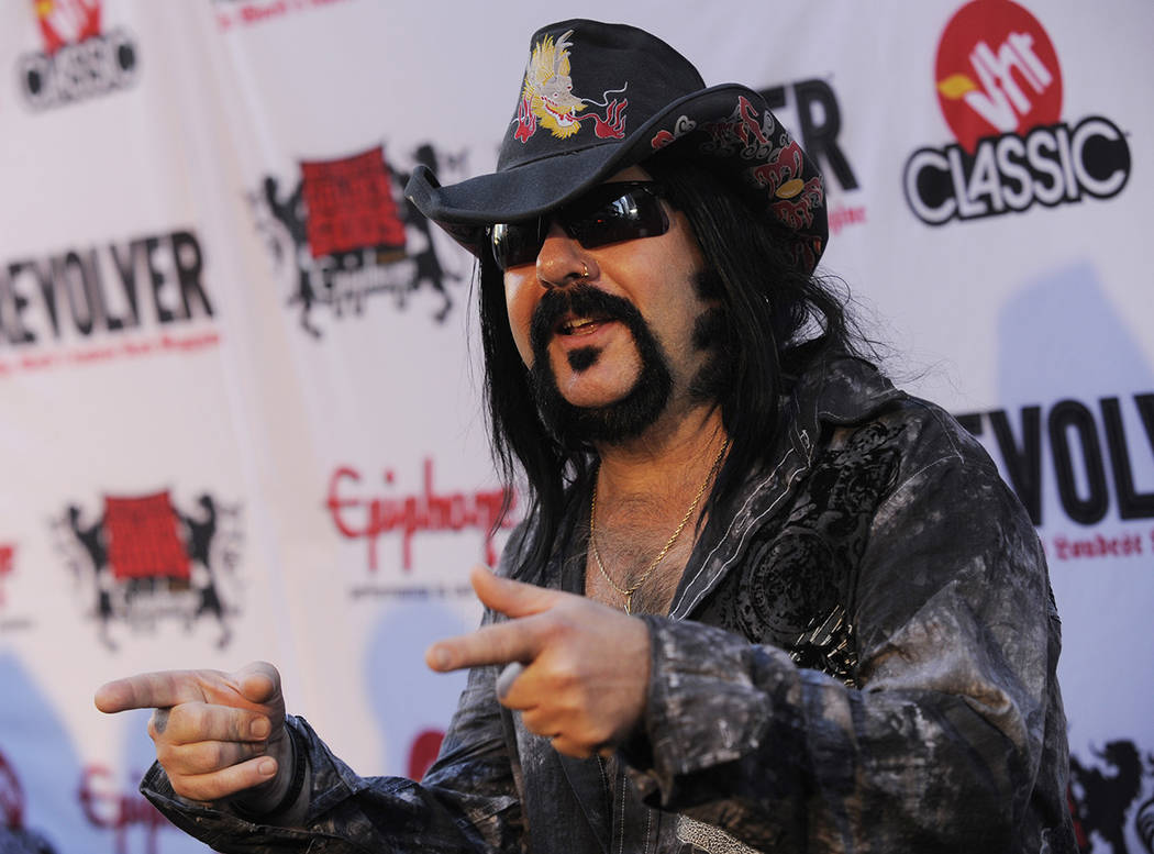 Vinnie Paul of Pantera arrives at the second annual Revolver Golden Gods Awards in Los Angeles, Thursday, April 8, 2010. (AP Photo/Chris Pizzello)