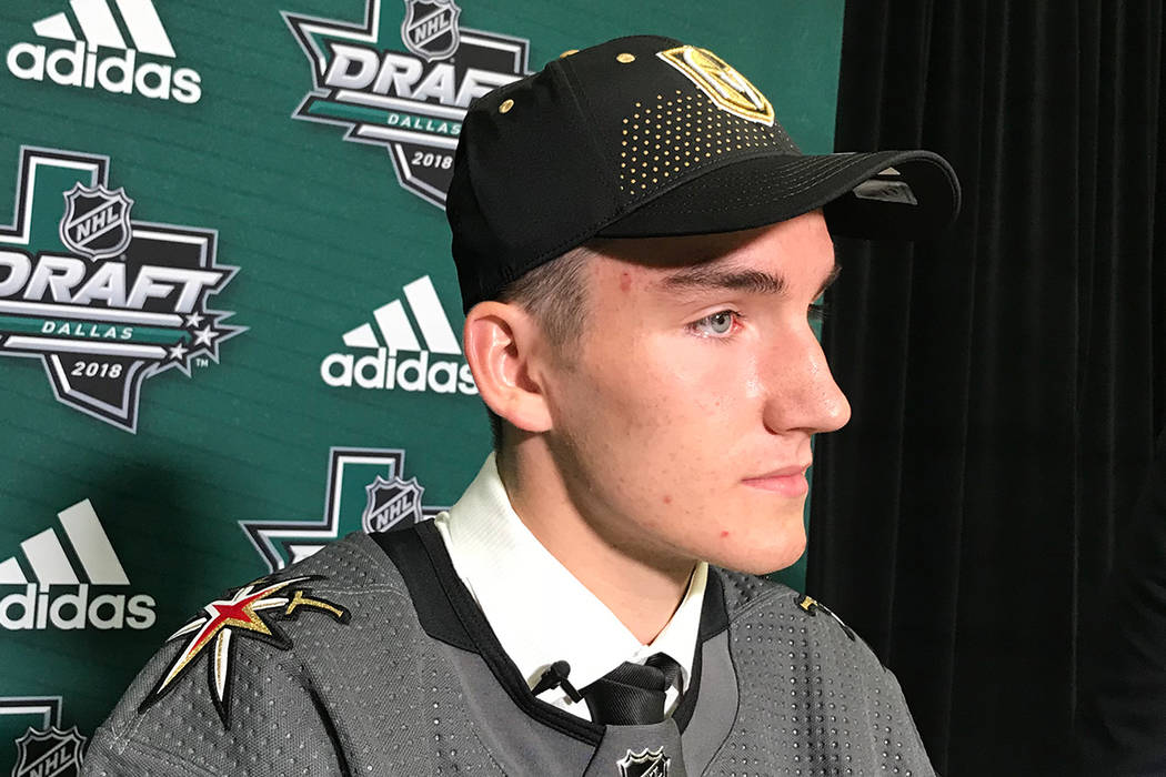 Ivan Morozov after being selected by the Golden Knights in the second round of the NHL Draft Saturday in Dallas. Steve Carp/Las Vegas Review-Journal