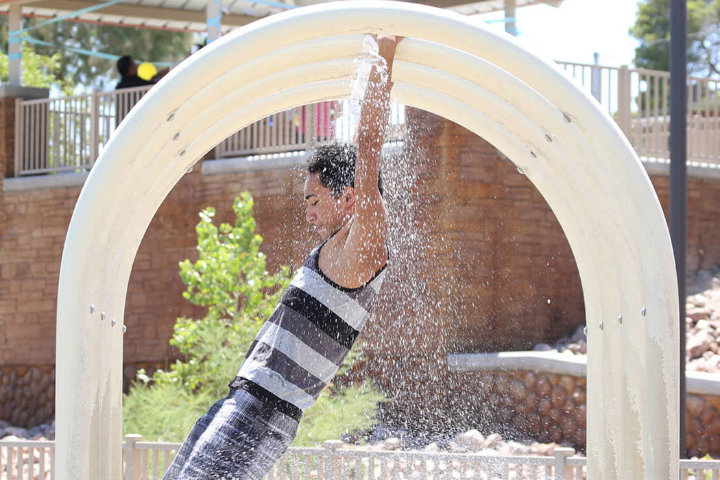 Kayin Jenkins cools himself as he plays during a hot day at Potosi Park in North Las Vegas in this file photo. Bizuayehu Tesfaye/Las Vegas Review-Journal Follow @bizutesfaye