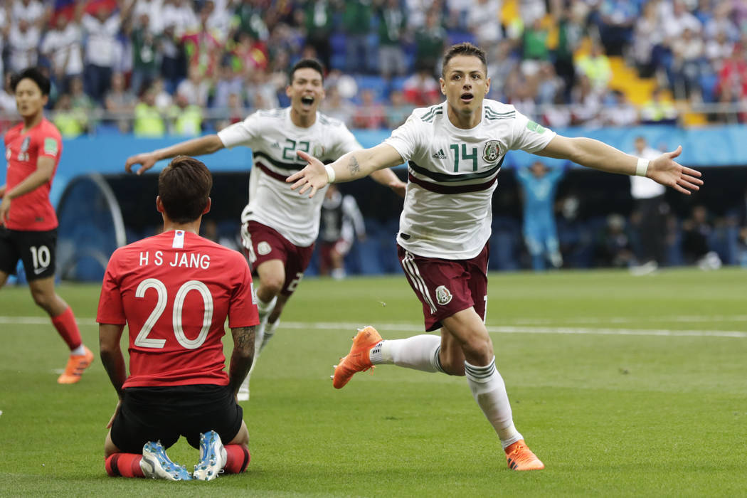 Mexico's Javier Hernandez celebrates after scoring his side's second goal during the group F match between Mexico and South Korea at the 2018 soccer World Cup in the Rostov Arena in Rostov-on-Don, ...