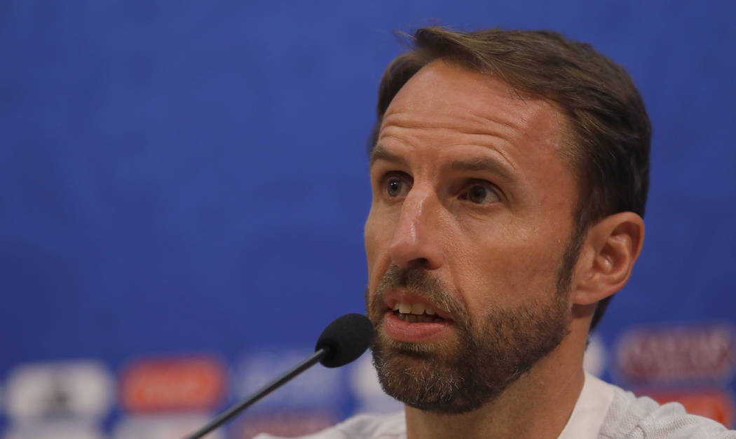 England head coach Gareth Southgate answers a question from the media during a press conference at the 2018 soccer World Cup in the in Nizhny Novgorod Russia, Saturday, June 23, 2018. England will ...