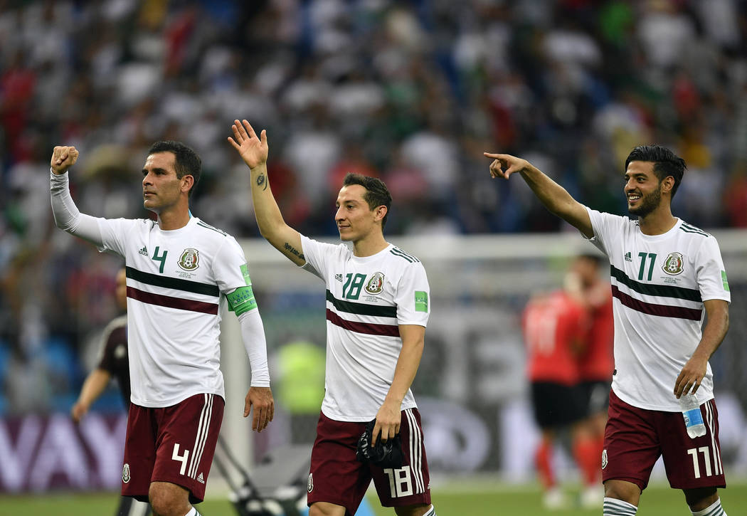 Mexico players greet supporters at the end of the group F match between Mexico and South Korea at the 2018 soccer World Cup in the Rostov Arena in Rostov-on-Don, Russia, Saturday, June 23, 2018. ( ...