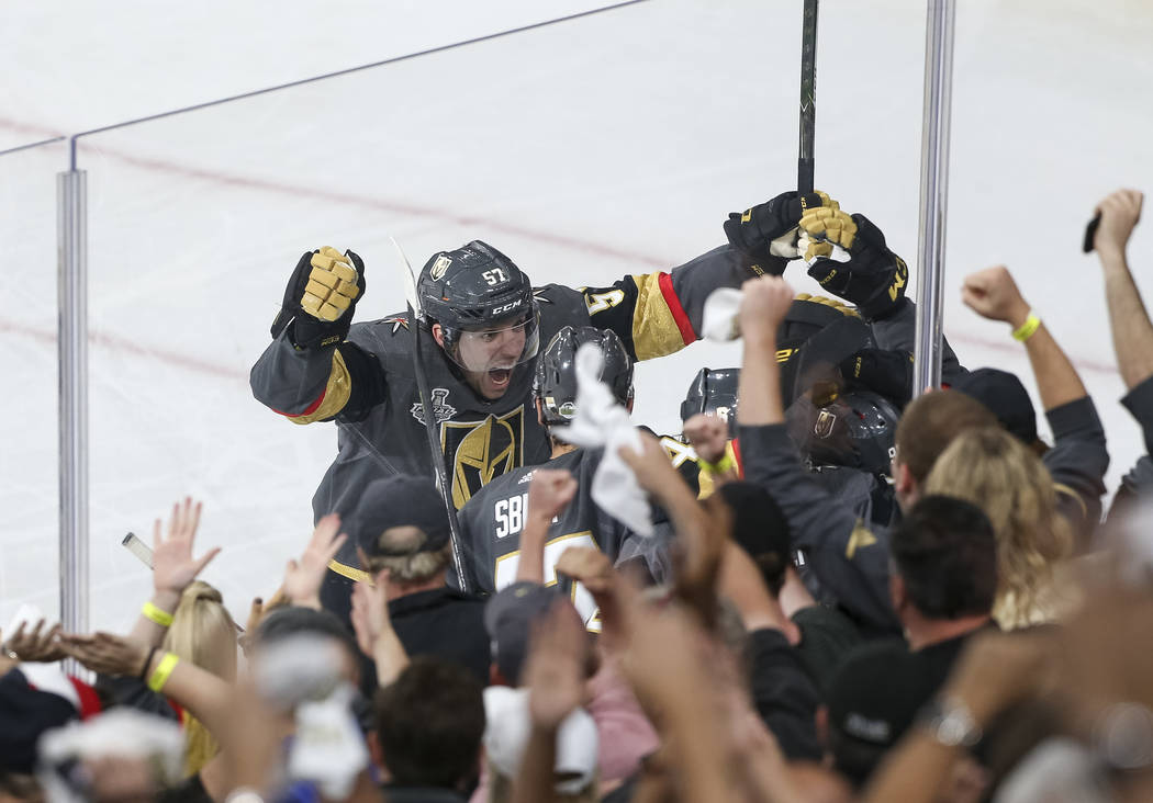 Vegas Golden Knights left wing David Perron (57) celebrates his second period goal against the Washington Capitals in Game 5 of the NHL hockey Stanley Cup Final at T-Mobile Arena in Las Vegas on T ...