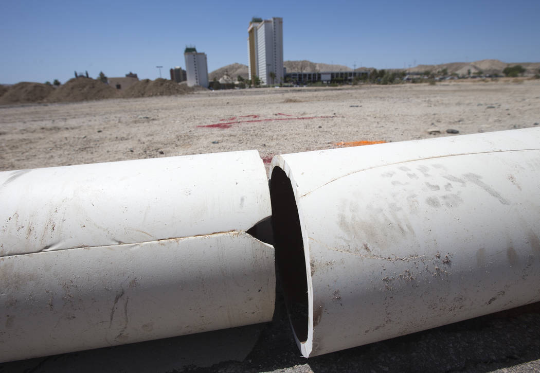 A view of the cracked water pipe that prompted a boil water order yesterday along the main resort corridor in Laughlin is seen on Sunday, June 24, 2018. The pipeline has been replaced and the Las ...