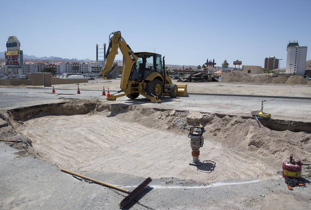 The site of the water main break that prompted a boil water order yesterday along the main resort corridor in Laughlin, Nev., is seen on Sunday, June 24, 2018. The pipeline has been replaced and t ...