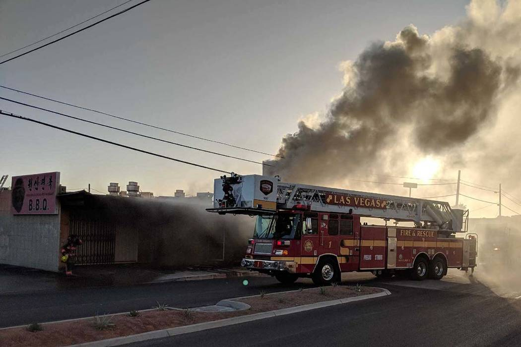 A Las Vegas fire truck on the scene of a building fire at 17 E. Oakey Blvd. on Sunday, June 24, 2018. (Las Vegas Fire Department)