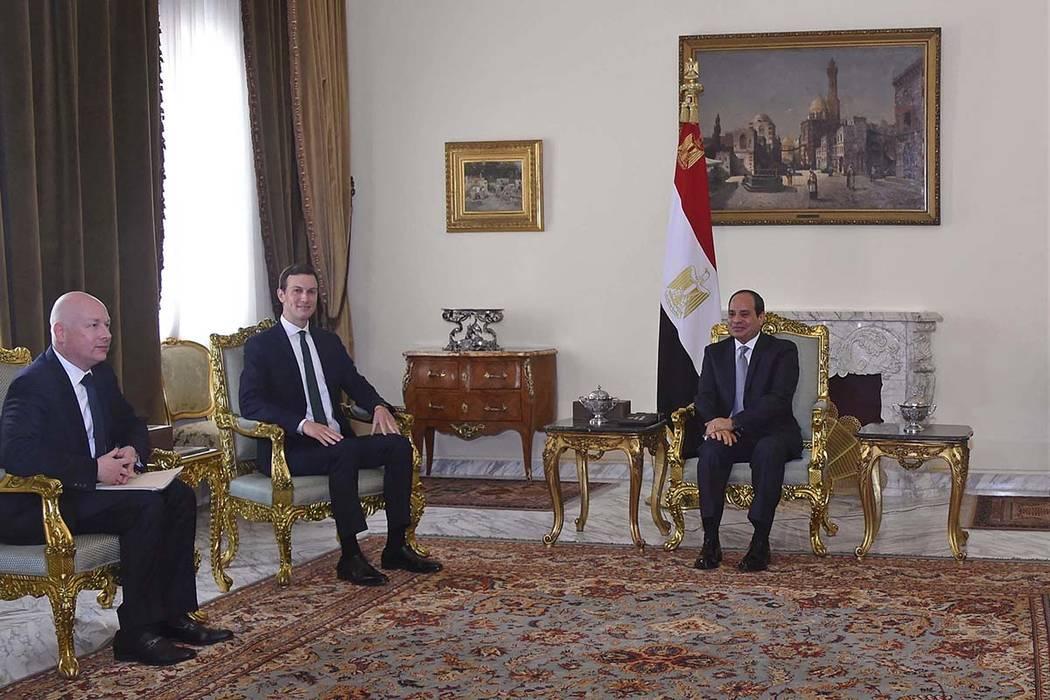 Egyptian President Abdel-Fattah el-Sissi, right, meets Thursday with President Donald Trump's son-in-law and senior adviser Jared Kushner, second left, and Mideast envoy Jason Greenblatt on the l ...