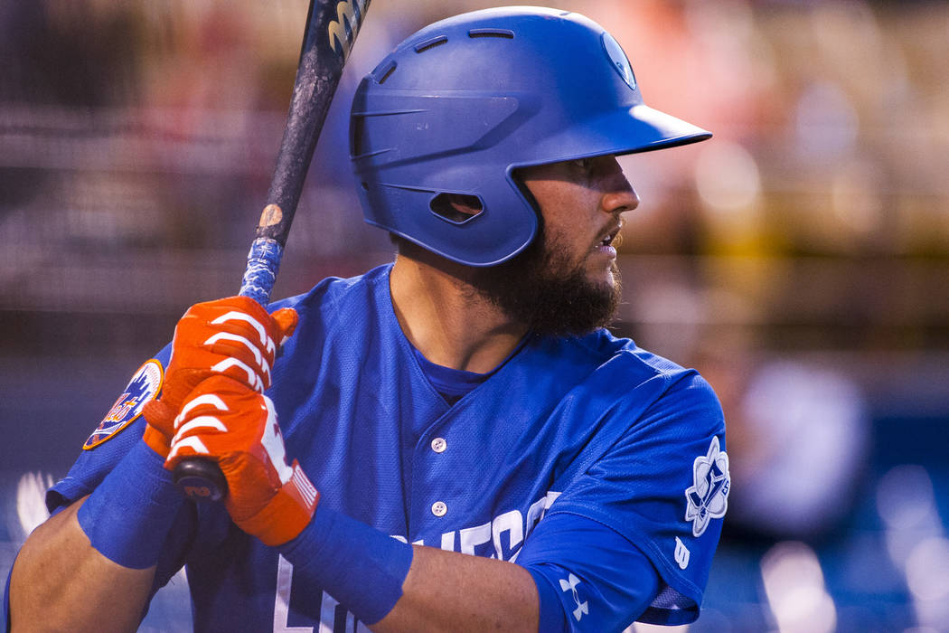 Las Vegas 51s second baseman Gavin Cecchini warms up before batting while playing against the Sacramento River Cats at Cashman Field on Wednesday, May 2, 2018. Patrick Connolly Las Vegas Review-J ...
