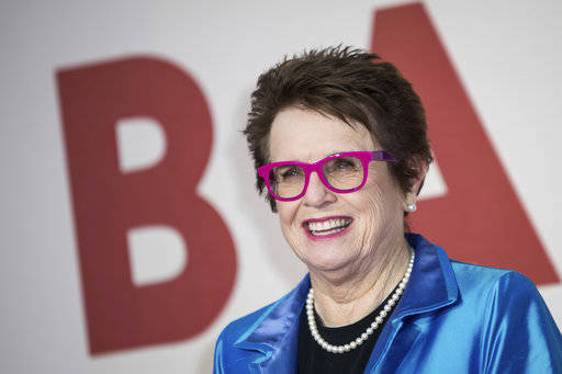 "FILE - In this Oct. 7, 2017 file photo, former tennis player Billie Jean King poses for photographers upon arrival at the premiere of the film ""Battle of the Sexes"" during the London Fil ..."