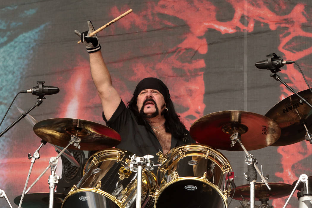 Vinnie Paul of the band Hellyeah performs in concert during Day 2 of the Rock Allegiance Festival at Talen Energy Stadium on Sunday, Sept. 18, 2016, in Chester, Pa. (Photo by Owen Sweeney/Invision/AP)