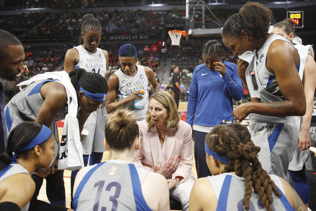 Minnesota Lynx Coach Cheryl Reeve talks to her players during a time out in the first half of a WNBA basketball game against the Las Vegas Aces at the Mandalay Bay Events Center in Las Vegas, Sund ...