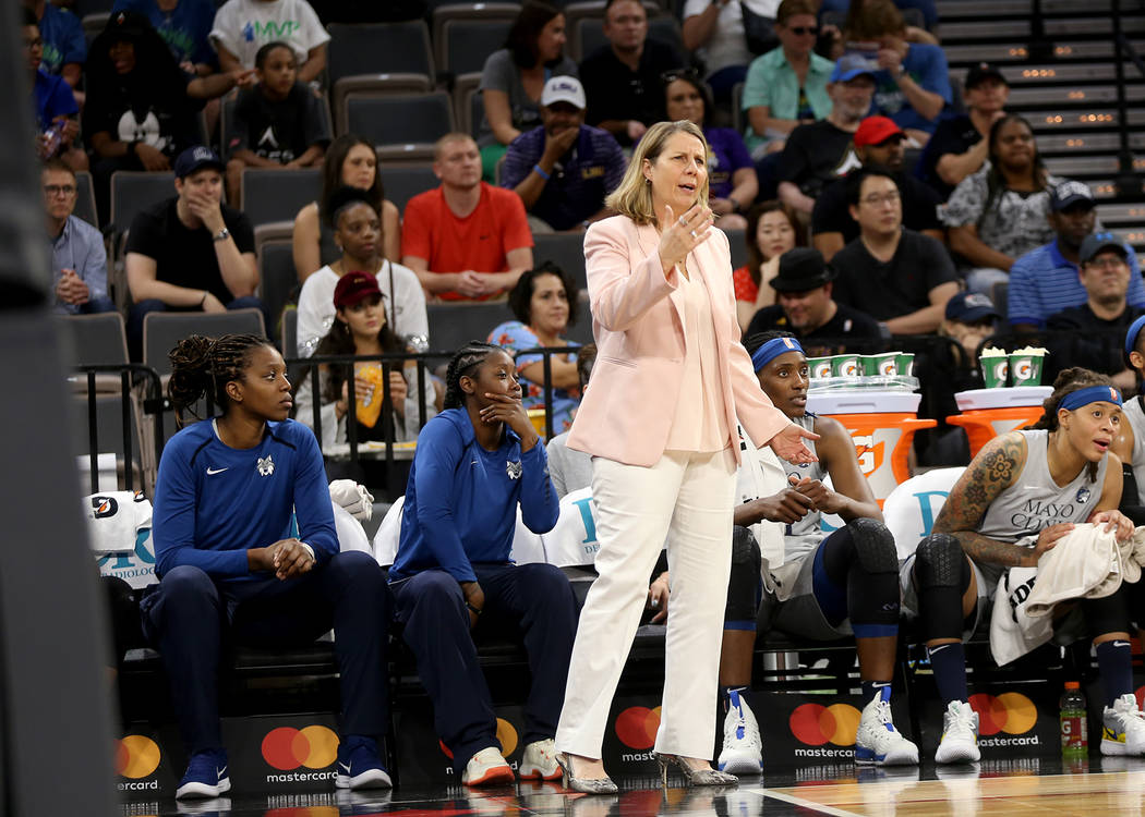 Minnesota Lynx Coach Cheryl Reeve gestures to her players in the first half of a WNBA basketball game against the Las Vegas Aces at the Mandalay Bay Events Center in Las Vegas, Sunday, June 24, 20 ...
