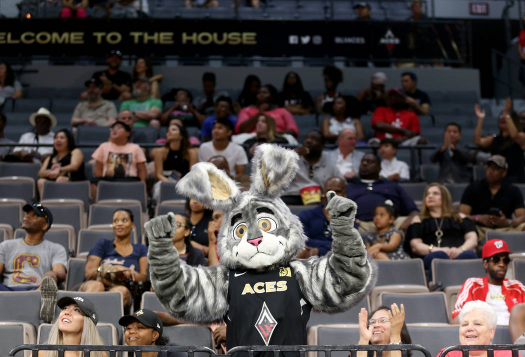 Las Vegas Aces mascot Buckets cheers the crowd during half time at a WNBA basketball game against the Minnesota Lynx at the Mandalay Bay Events Center in Las Vegas, Sunday, June 24, 2018. Rachel A ...