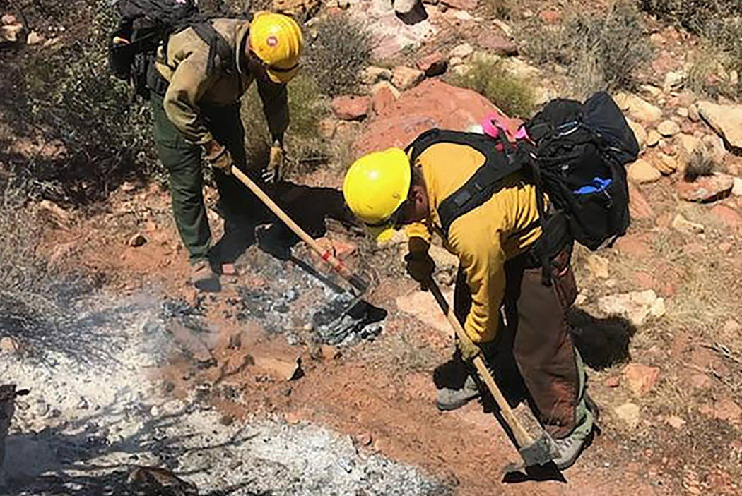 Crews fight a fire in the Pine Creek trail area in the Red Rock National Conservation Area on Friday, June 22, 2018, in Las Vegas (BLM Southern Nevada)