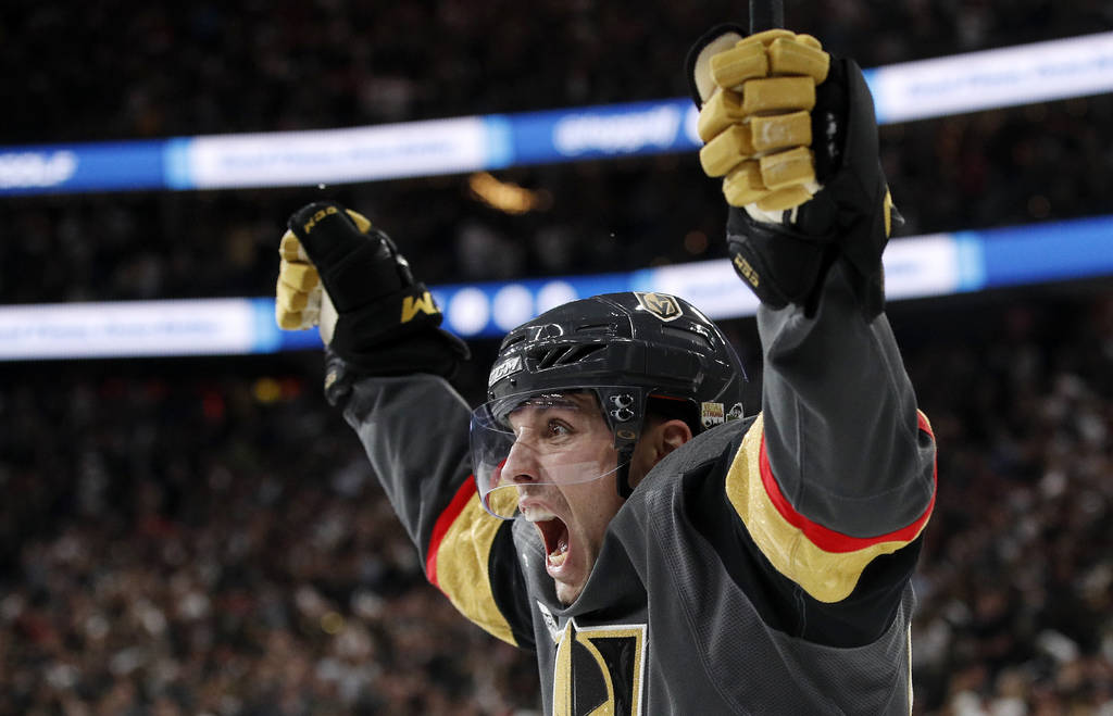 Vegas Golden Knights left wing David Perron celebrates his goal during the second period in Game 5 of the NHL hockey Stanley Cup Finals against the Washington Capitals on Thursday, June 7, 2018, i ...