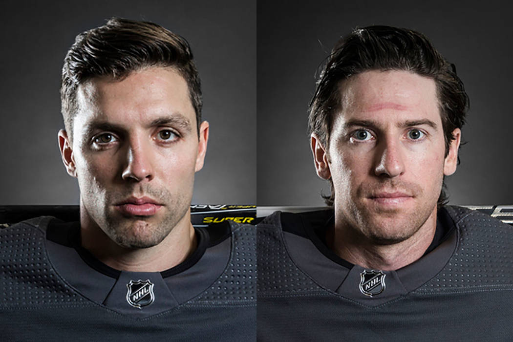 David Perron, left, and James Neal of the Vegas Golden Knights (Las Vegas Review-Journal)