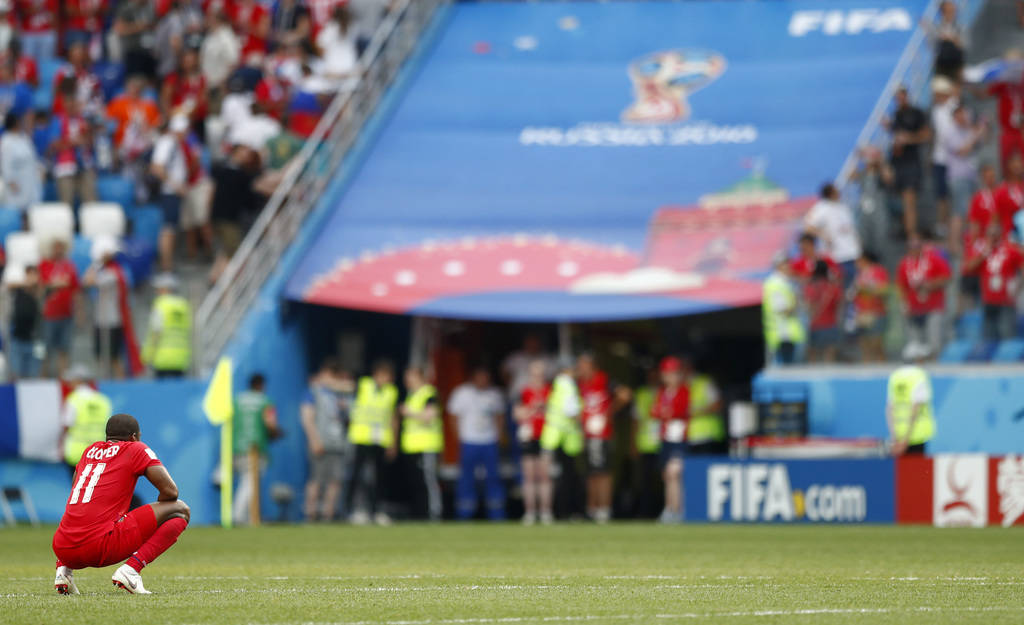 Panama's Armando Cooper reacts after his team's 6-1 loss in the group G match against England at the 2018 soccer World Cup at the Nizhny Novgorod Stadium in Nizhny Novgorod , Russia, Sunday, June ...
