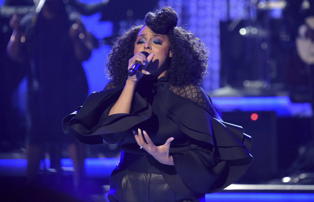 Marsha Ambrosius performs during a tribute to lifetime achievement award winner Anita Baker at the BET Awards at the Microsoft Theater on Sunday, June 24, 2018, in Los Angeles. (Photo by Richard S ...