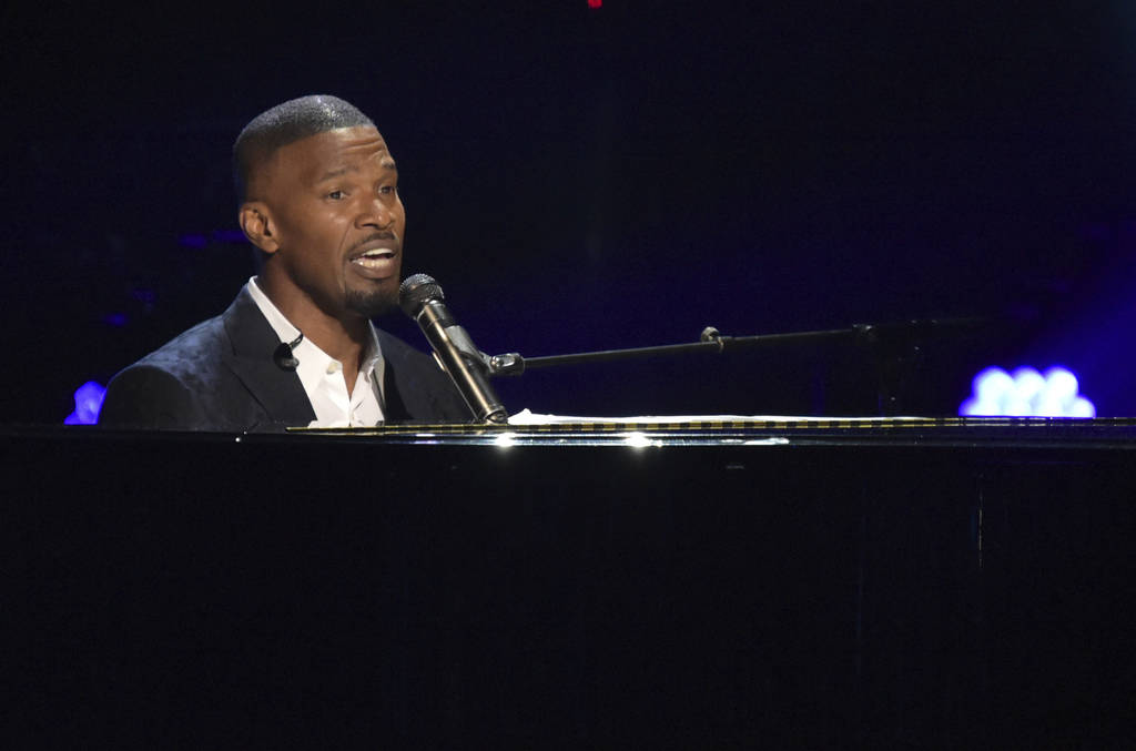 Jamie Foxx performs during a tribute to lifetime achievement award winner Anita Baker at the BET Awards at the Microsoft Theater on Sunday, June 24, 2018, in Los Angeles. (Photo by Richard Shotwel ...