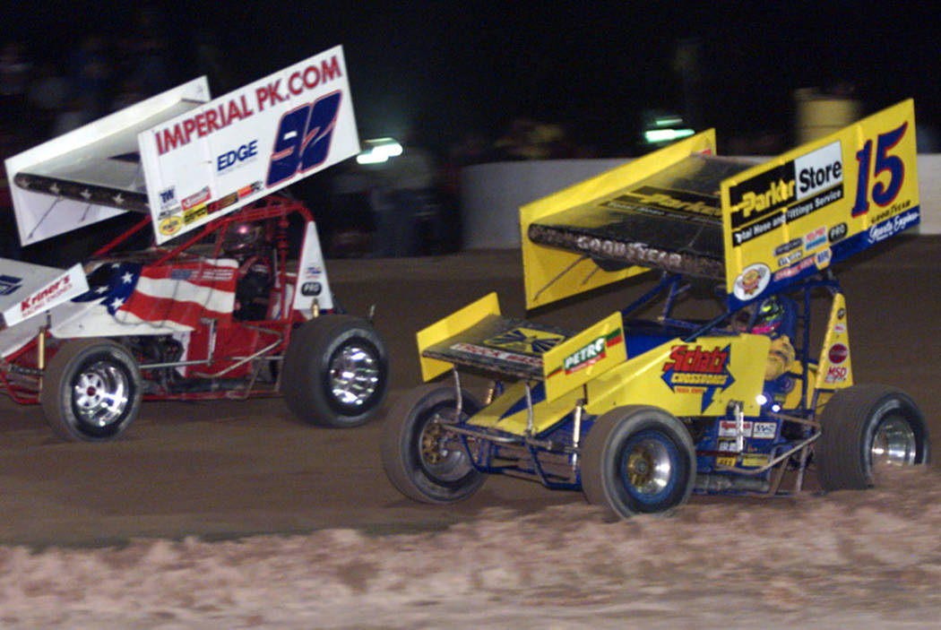 Racers compete in a World of Outlaws event at Las Vegas Motor Speedway in 1999. (K.M. Cannon/Las Vegas Review-Journal)