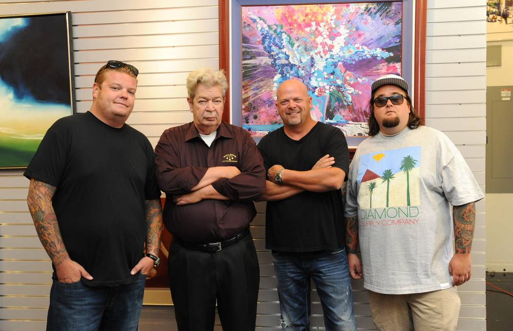 """Pawn Stars"" Corey Harrison, left, Richard ""Old Man"" Harrison, Rick Harrison and Austin ""Chumlee"" Russell at the Gold & Silver Pawn Shop in Las Vegas on Aug. 13, 2012. (Darrin Bush/Las Vegas News ..."