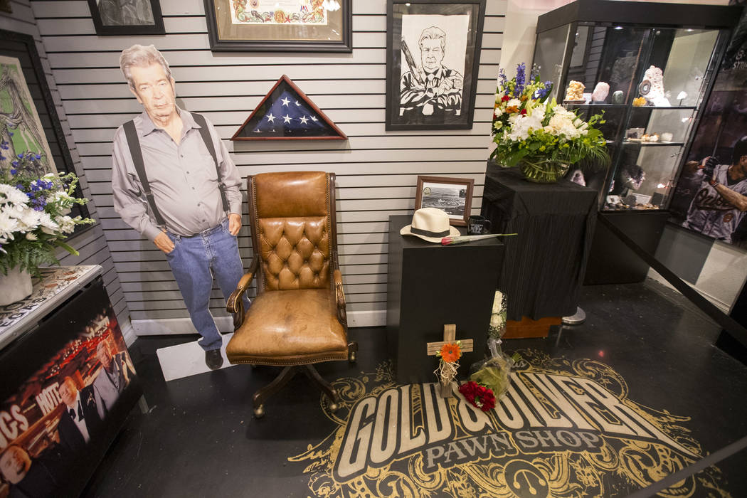 """A makeshift memorial for Richard Benjamin Harrison, better known as """"The Old Man"""" on History's reality television series """"Pawn Stars,"""" in the back of the Gold & Silver Pawn Shop in downtown Las Ve ..."""