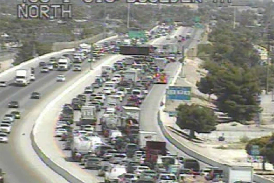 Traffic on northbound U.S. Highway 95 before the Charleston Boulevard exit is backed up after a vehicle fire closed some lanes, Monday, June 25, 2018. (RTC Fast Cameras)