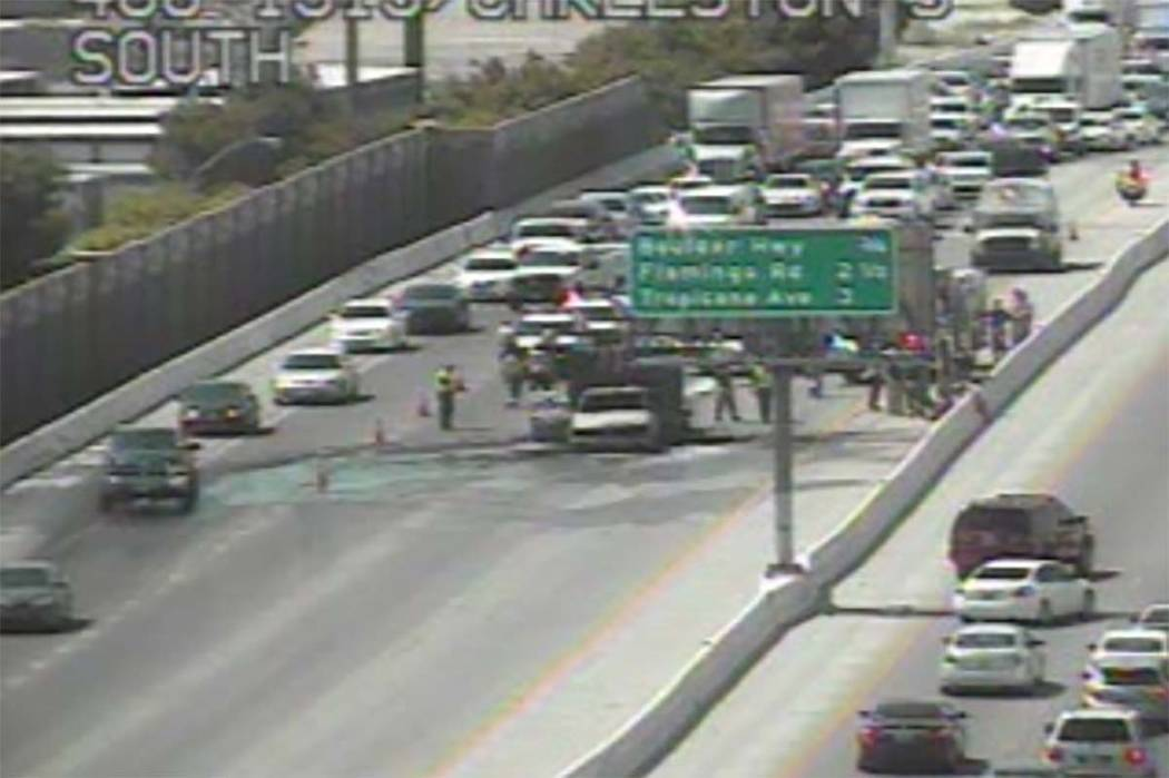 A car fire closed some lanes on northbound U.S. Highway 95 before the Charleston Boulevard exit, Monday, June 25, 2018. (RTC Fast Cameras)