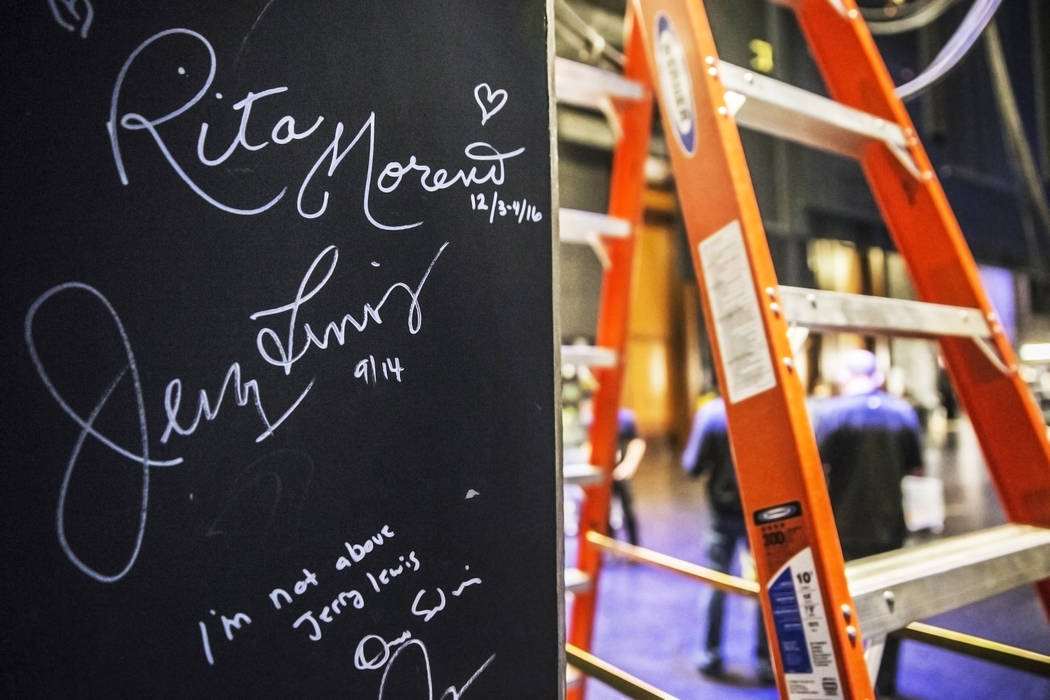 Rita Moreno and Jerry Lewis' signatures on the wall backstage at The Smith Center on Monday, Feb. 20, 2017, in Las Vegas. (Benjamin Hager/Las Vegas Review-Journal) @benjaminhphoto