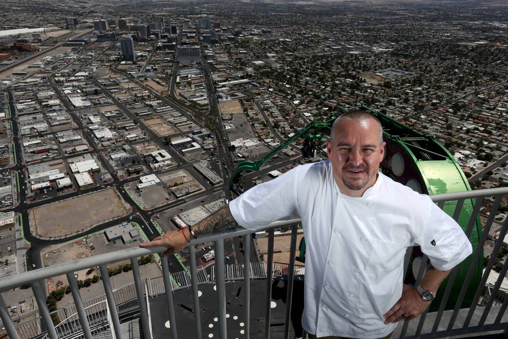 Chef Johnny Church, corporate executive chef at Golden Entertainment, Inc., with the Insanity ride at the Stratosphere in Las Vegas Friday, June 22, 2018. K.M. Cannon Las Vegas Review-Journal @KMC ...
