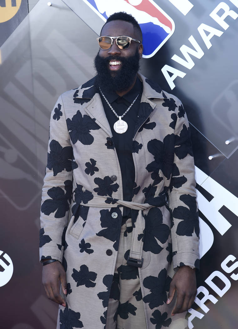 NBA player James Harden, of the Houston Rockets, arrives at the NBA Awards on Monday, June 25, 2018, at the Barker Hangar in Santa Monica, Calif. (Photo by Richard Shotwell/Invision/AP)