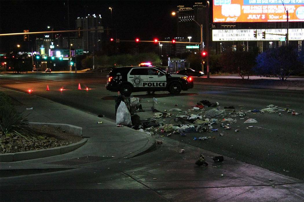 A pedestrian was hit by a car early Tuesday morning in the central valley. (Max Michor/Las Vegas Review-Journal)