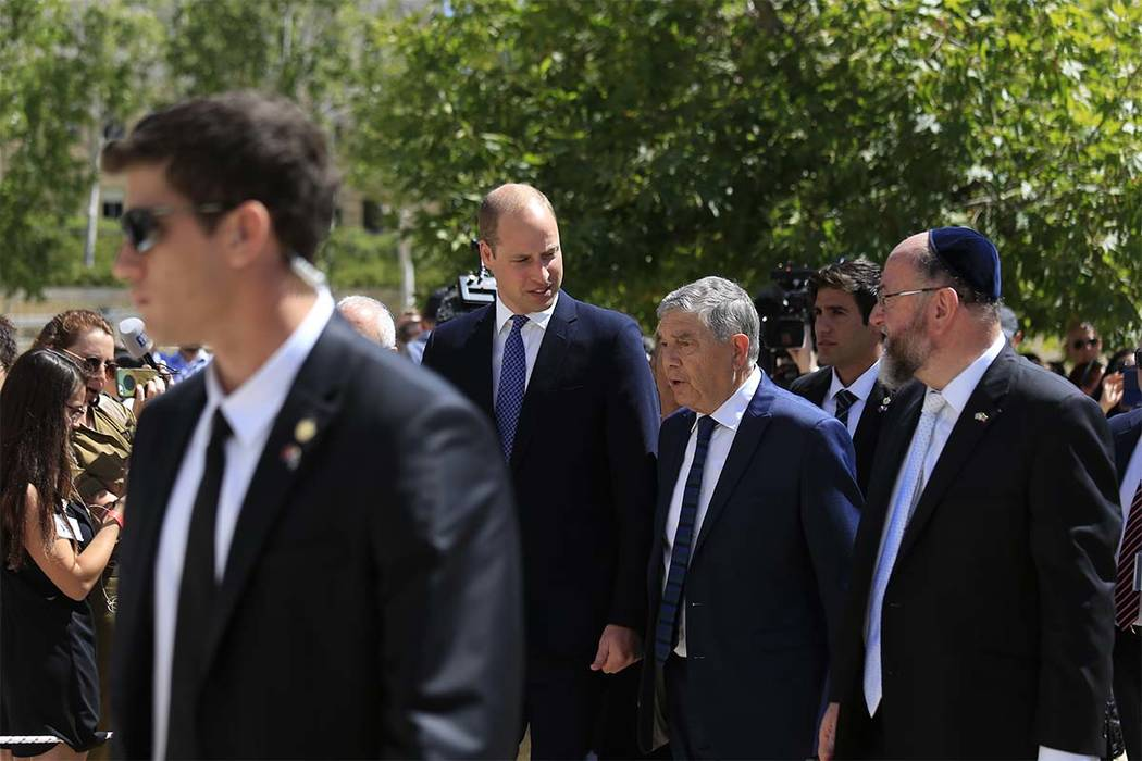Britain's Prince William, center, arrives at the Yad Vashem Holocaust memorial in Jerusalem, Israel, Tuesday, June 26, 2018. (Ariel Schalit/AP)