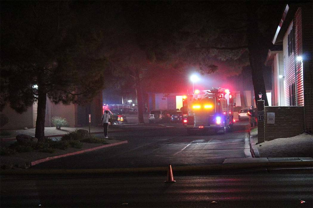 One person was displaced early Tuesday, June 15, 2018, after a fire at a central valley apartment complex. (Max Michor/Las Vegas Review-Journal)