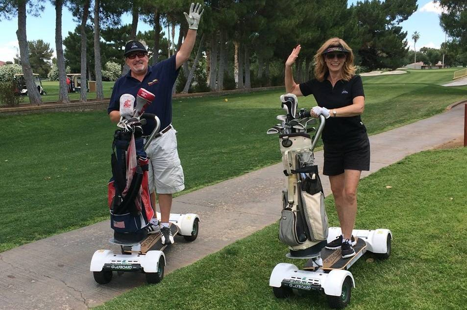 Golfers enjoy the cool Golfboards at the historic Las Vegas National Golf Club, where in the summer months hundreds of trees offer shade. courtesy Las Vegas National.