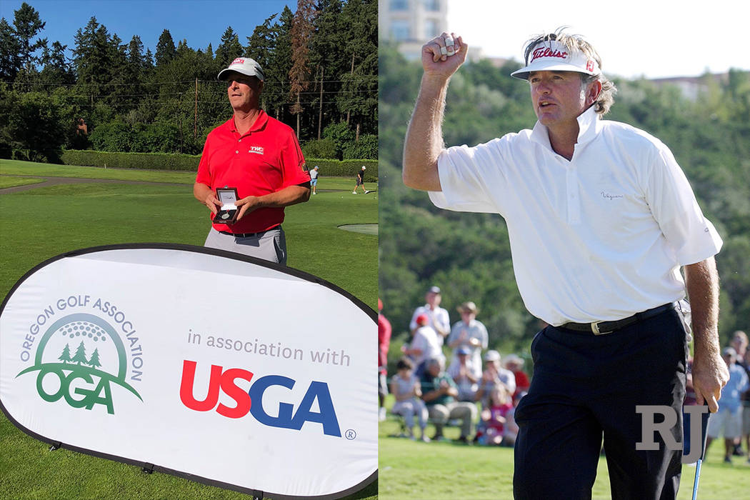 A composite photo of Jeff Gallagher, left, and Tommy Armour III, right, who will both participate in the 2018 U.S. Senior Open field. (Twitter/AP Photo)