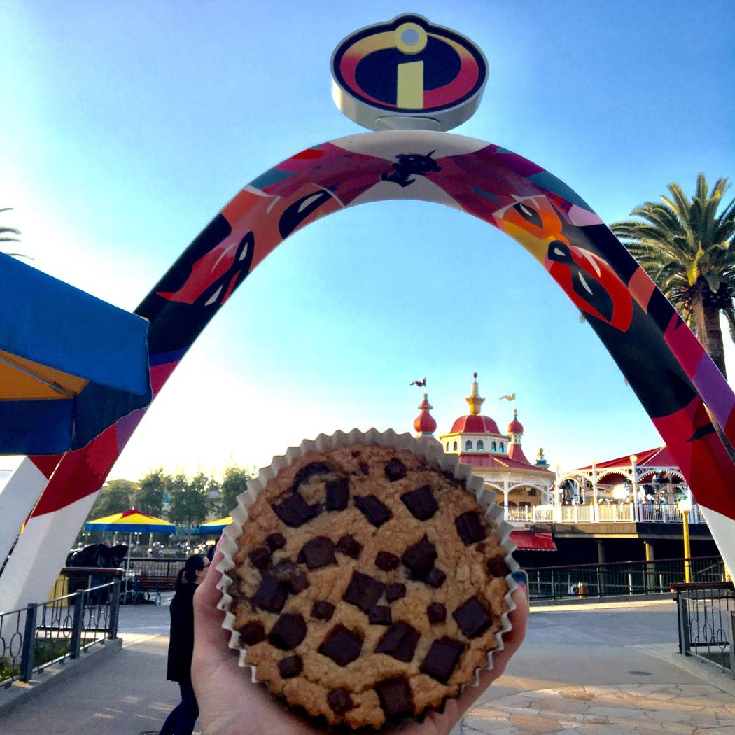 "The new ""Jack-Jack"" Cookie Num Num treat is pictured in front of the entrance archway to the new Incredicoaster on Pixar Pier. (Las Vegas Review-Journal)"